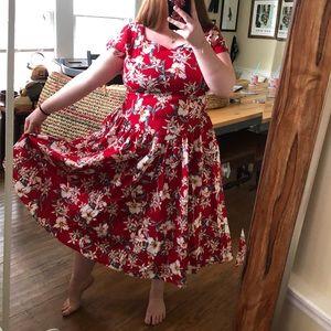 Vintage 1980s Hawaiian Dress Smocked Back Size L